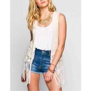 🌙 Bohemian Cream Crochet Fringe Vest